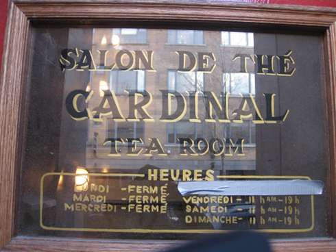 cardinal tea room window