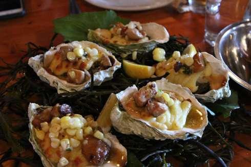 oysters and foies gras at cabane a sucre pied de cochon apple season 2014